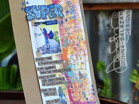 """Super Hunter"" Monoprint Background by Donna Salazar"