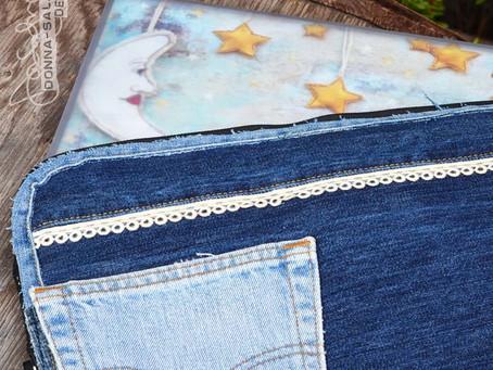 Refashioned Denim Laptop Case by Donna Salazar