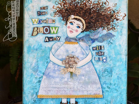 Mixed Media Canvas for Charity Wings by Donna Salazar
