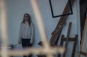 """Emma Lynch behind the scenes of """"Monolith."""""""