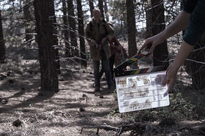 """Steve Chivers, Cait Engler, Hadassah Shaheen and Ginnie Palm behind the scenes of """"Survive."""""""