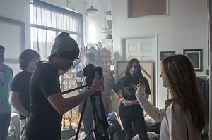 "Rohit Govardhanam, Thiago Porto, Zenon Samuels, Ginnie Palm, Nicole Dillman and Emma Lynch behind the scenes of ""Monolith."""