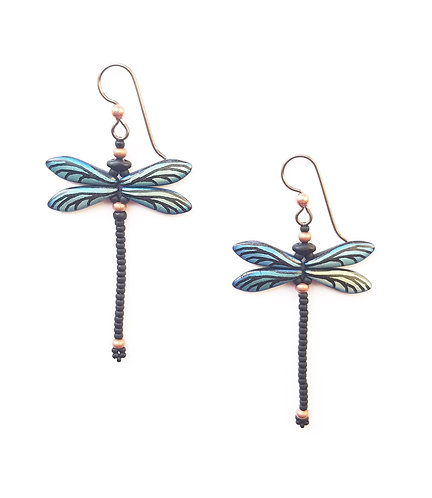 Beaded Dragonfly Earrings With Hypoallergenic Earwires