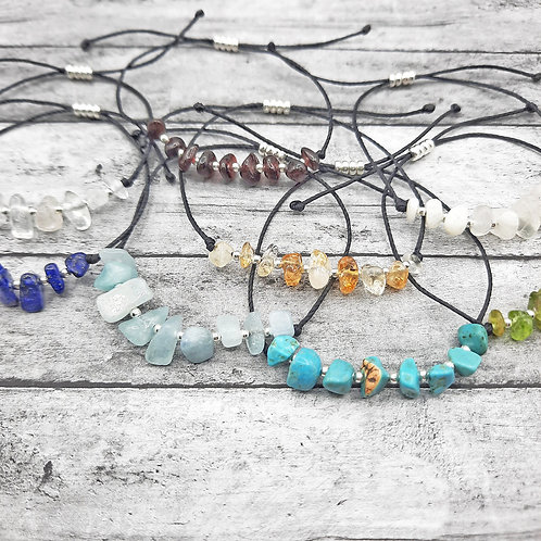 Natural Gemstone Birthstone Adjustable Bracelet with 925 Sterling SilverAccents