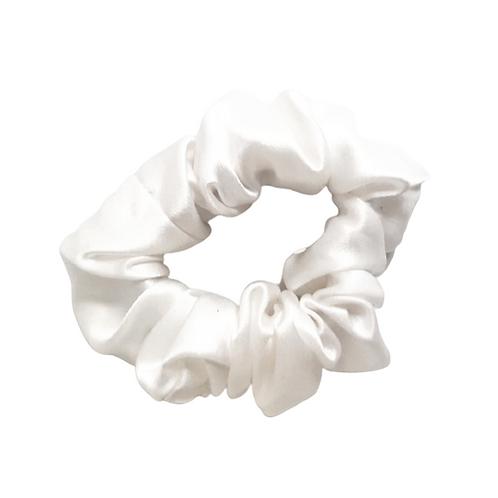 Classic Mulberry Silk Scrunchie - Pearl White