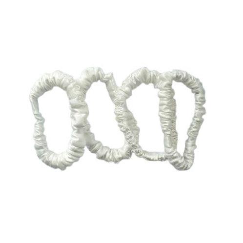 Slim Mulberry Silk Scrunchie - Pearl White