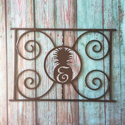 The Pineapple Monogram, half screen door grille
