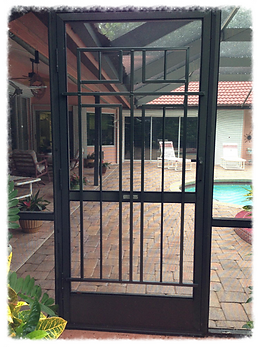 Screen Door Grille, screen door grilles, screen door grill, screen door grills, custom screen doors, metal screen door, metal screen doors, ornate screen doors, fancy screen doors, door protector, door guard, camco screen door grille, camco rv parts, camco
