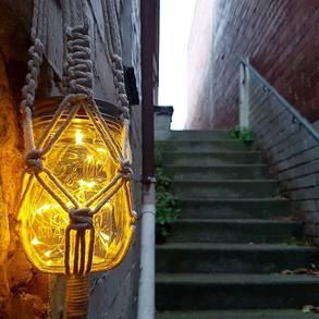 Solar powered hanging lanterns