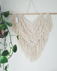 White Boho Triple Tier Macrame Wall Hanging available @ Market Fair