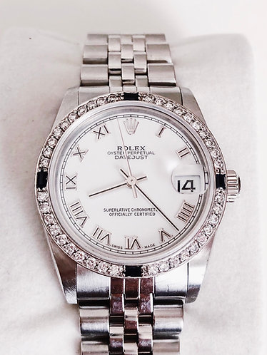 Rolex Midsize 78240 Stainless Steel with Roman Numerals White Dial