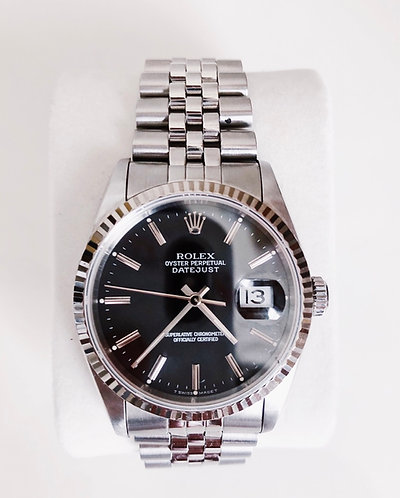 Rolex Datejust 16234 Black Dial Mens Stainless Steel & 18K White Gold Watch