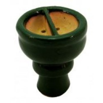 Tabaktopf - Ton glasiert - geteilt - grün