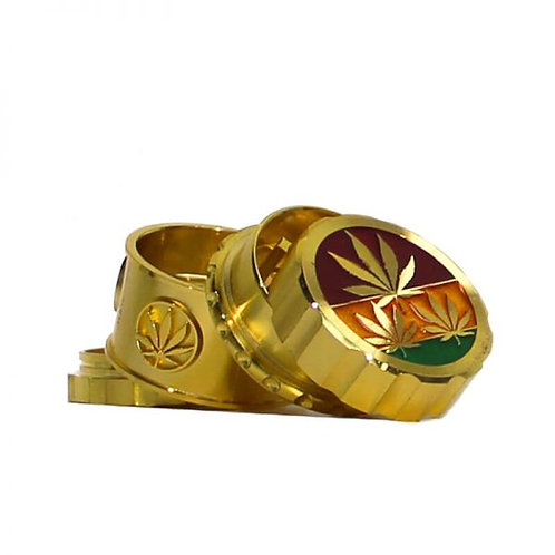 Rasta Leaves Gold Magnetic Metal Grinder 45mm – 4 parts