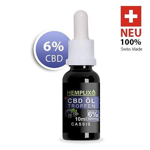6 x 6% CBD Öl Hemplix Cassis