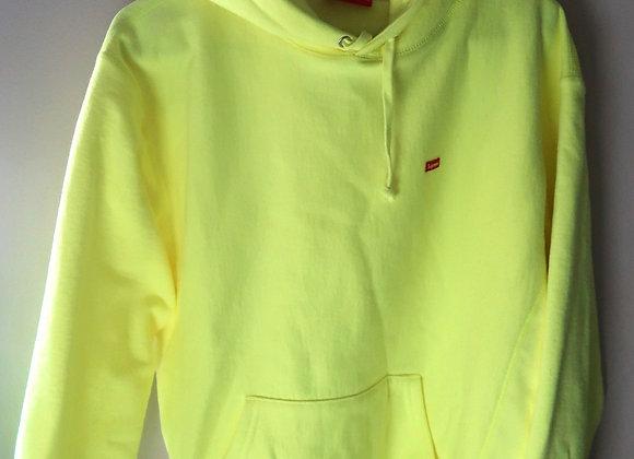 supreme small box hooded sweatshirt bright yellow