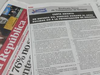 En defensa del Derecho Humano al Agua decimos NO a la Privatización de Sedapal - Carta Abierta Diari