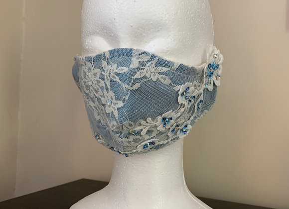 13. Blue / White Lace Mask