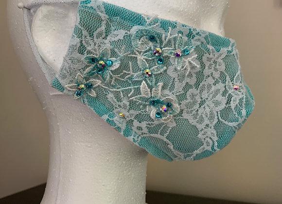 12. Turquoise / White Lace Mask