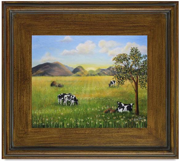 Morning-Graze-framed-teak-brown-Anita-Badami