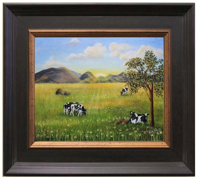 Morning-Graze-framed-dark-brown-Anita-Badami