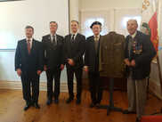 Maciej Jarysz, secretary (first left), Mieczyslaw Swat, honorary president (first right)