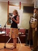 Julie Ankiewicz, Master of Ceremonies at 'Destination Australia' Exhibition. Daughter of Polish Soldier from Carpathian Brigade, Ander's 2nd Corps Came out on Strathnaver 1948  Served in African, Middle East and Mediterranean Campaigns