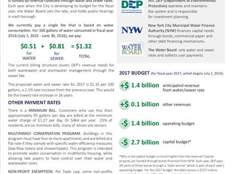 NYC 2019 Water Rates/Water Rate Study: How Water Rates Impact NYC Waterways