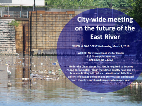 Calling All Waterway Advocates! Important DEP Public Meeting March 7,2018. for the East River LTCP