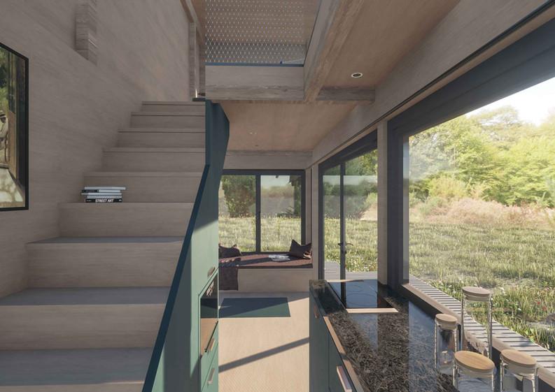 vagabundo flex tiny haus innenansicht wohnraum treppe und küche