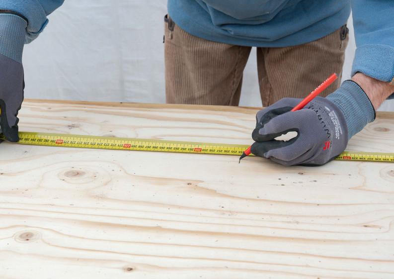 Maß nehmen Holzarbeiten Tiny Haus