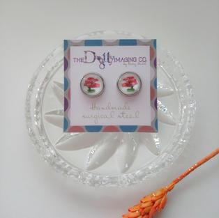 Red Bonsai Stud Earrings