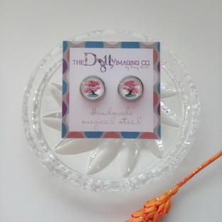 Pink Bonsai Stud Earrings