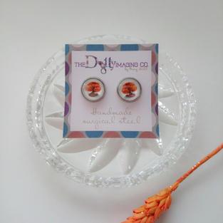 Orange Bonsai Stud Earrings