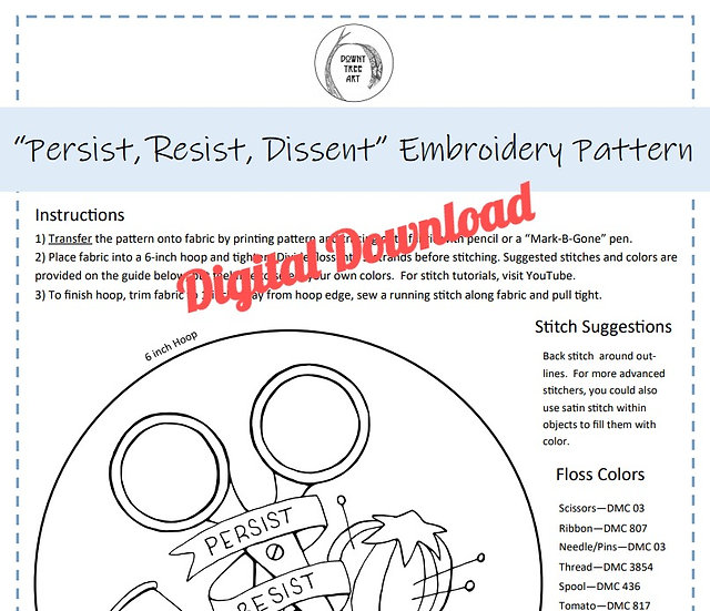 """""""Dissent"""" Digital Download Embroidery Pattern"""