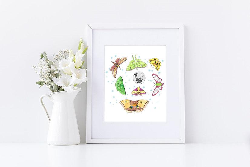 Moths in the Moonlight Print