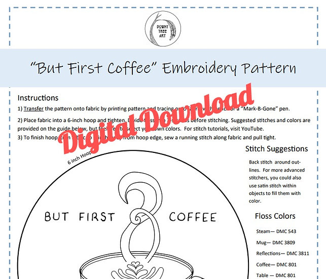 """But First Coffee"" Digital Download Embroidery Pattern"