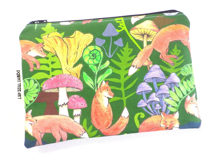 Frolicking Foxes Flat Zipper Bag