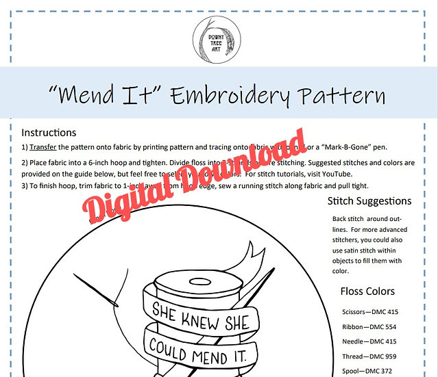 """""""Mend It"""" Digital Download Embroidery Pattern"""