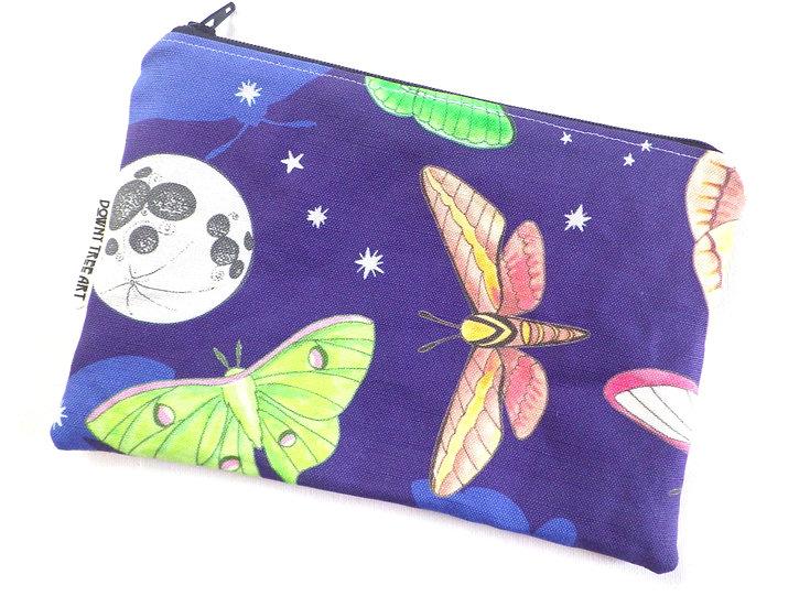 Moths Flat Zipper Bag