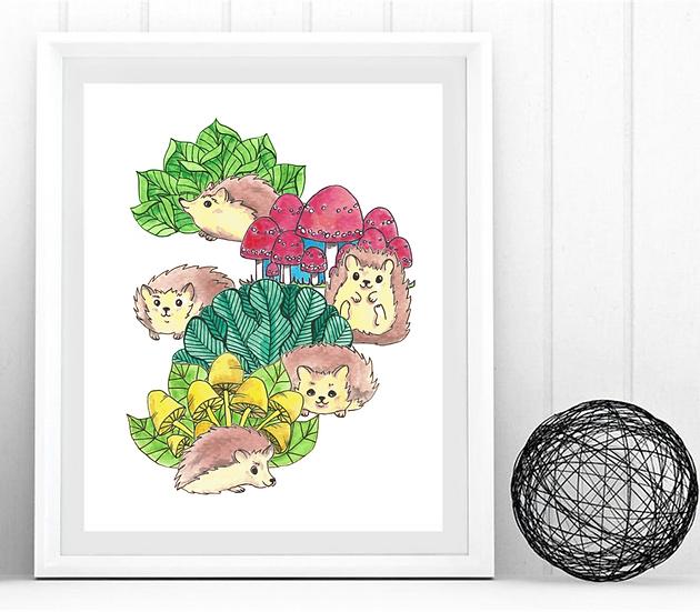 Hedgehog Garden Print