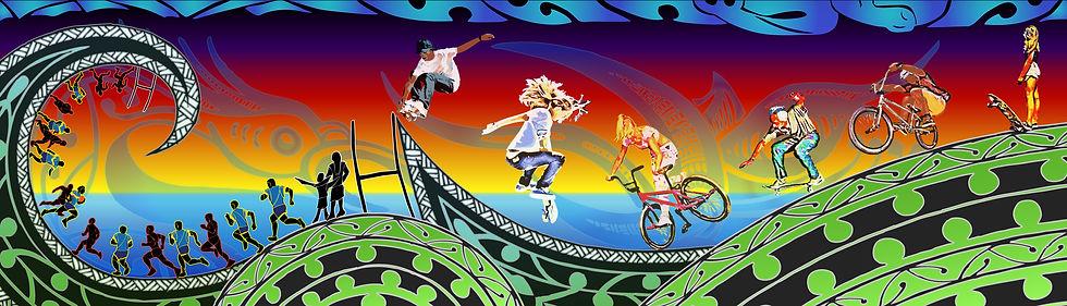Maori Graphic Mural in a Rotorua Sports Complex