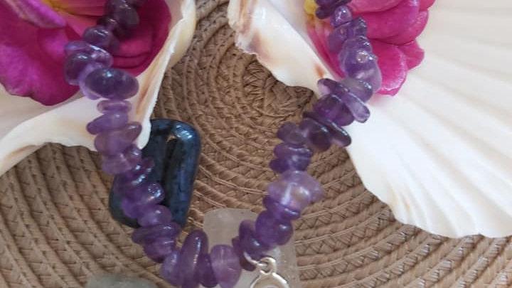 Crystal Amethyst bracelet with heart charm