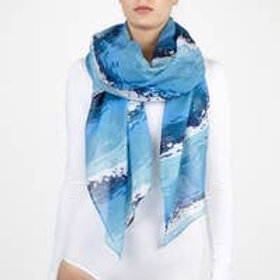 "Printed Village ""Blue Waves"" Scarf"