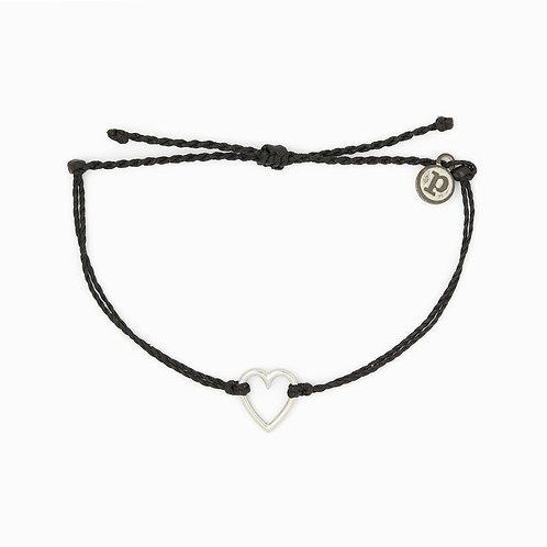Pura Vida Open Heart Black Bracelet