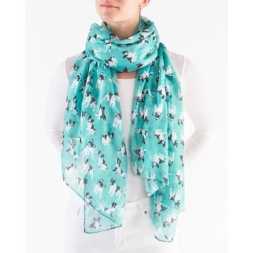 """Printed Village """"French Bulldogs"""" Scarf"""