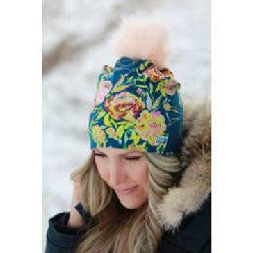 Halo Blue Floral Pom Pom Hat