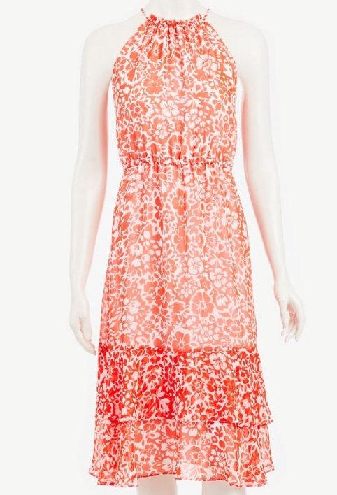 Ann Taylor Long Red Pinch waist Dress