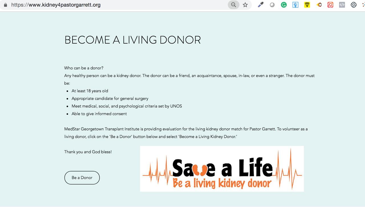 Kidney4Garret Website Donor