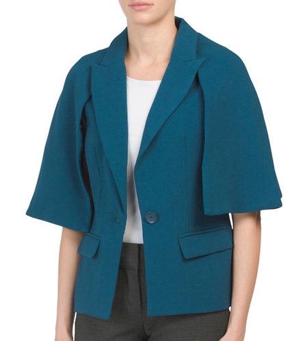 Blue Crepe cape Jacket